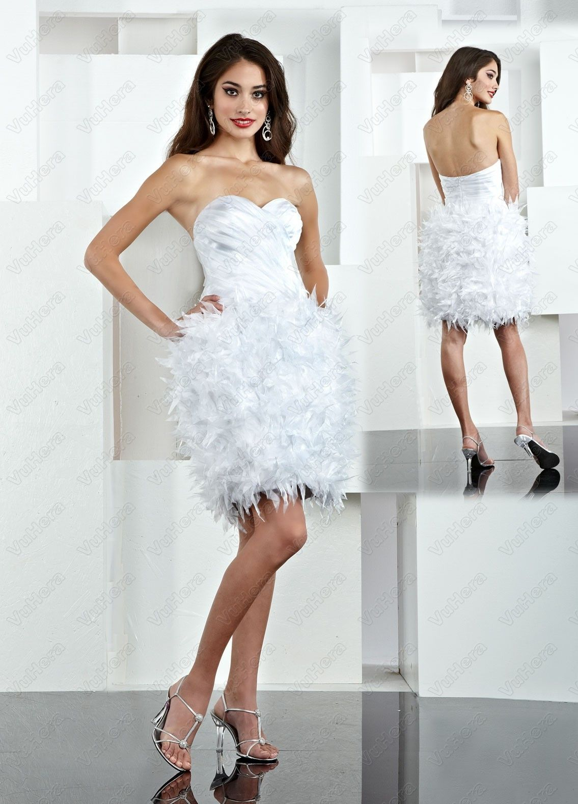Strapless ruffled bodice short white prom dress prom dresses