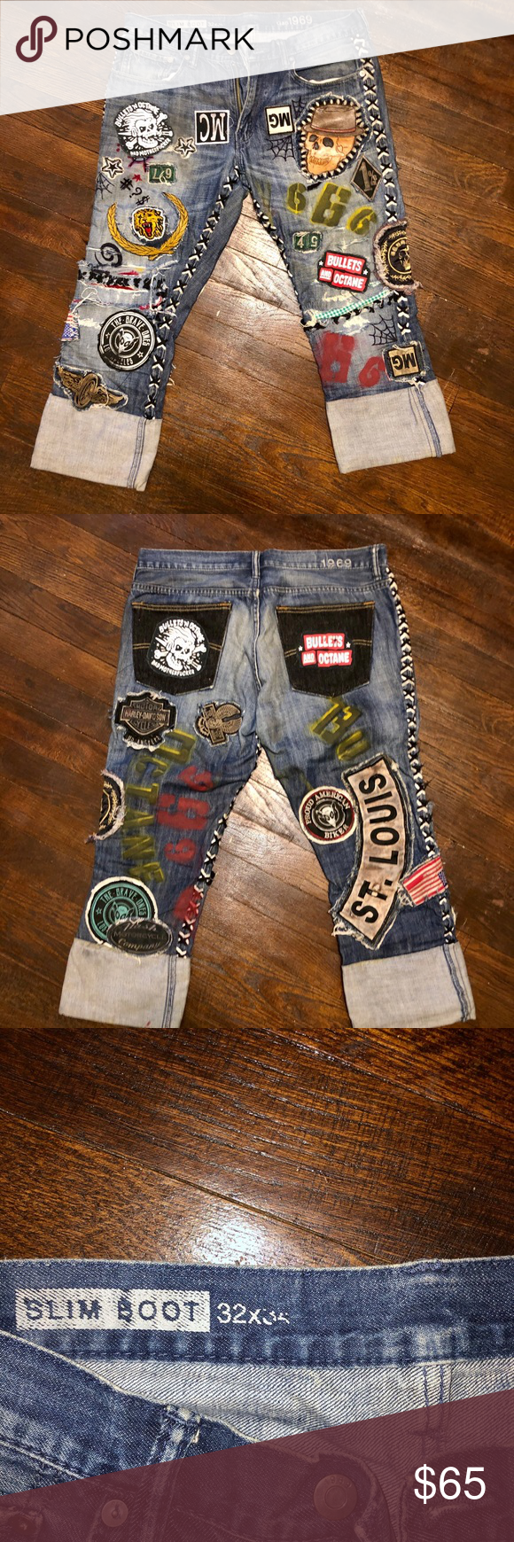 Custom jeans punk rock and roll pirate denim 32 Custom jeans punk rock and roll pirate denim 32 x 34 but the cuffs are rolled in photos! Handmade!! Originally gap men's jeans Slim boot cut. GAP Jeans Skinny #rockandrolloutfits