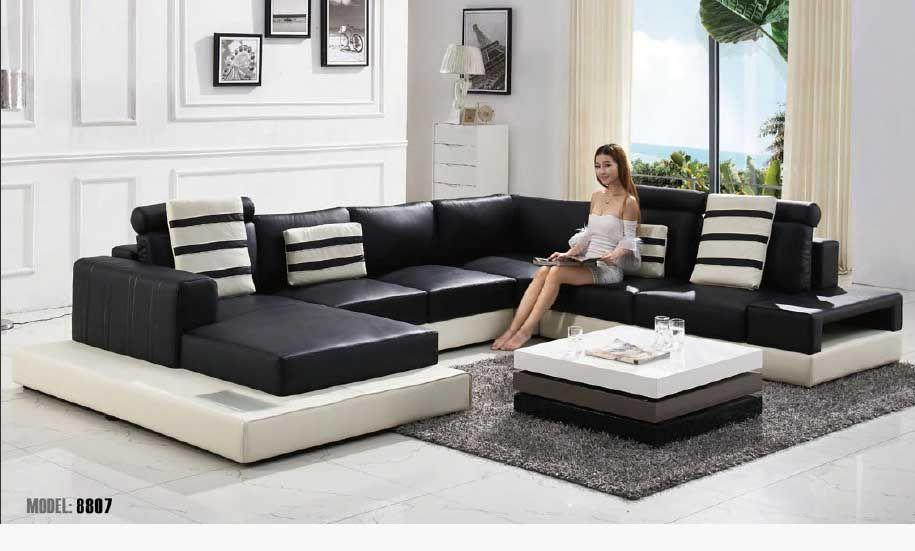 Black And White Sofa Set Designs For Modern Living Room Interiors