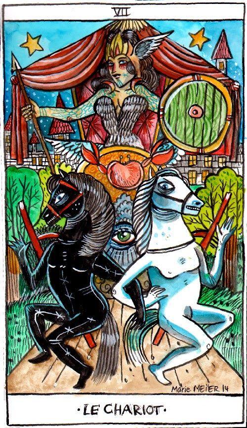 Marie Meier Feral Art , the chariot, tarot wilder mann. www.mariemeier.fr