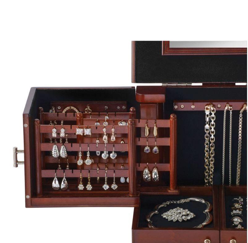 Lori Greiner Deluxe Wood Jewelry Organizer In Walnut Storage