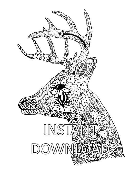 Coloring Page, Coloring Sheet, Deer Head, Animal Coloring, Adult ...