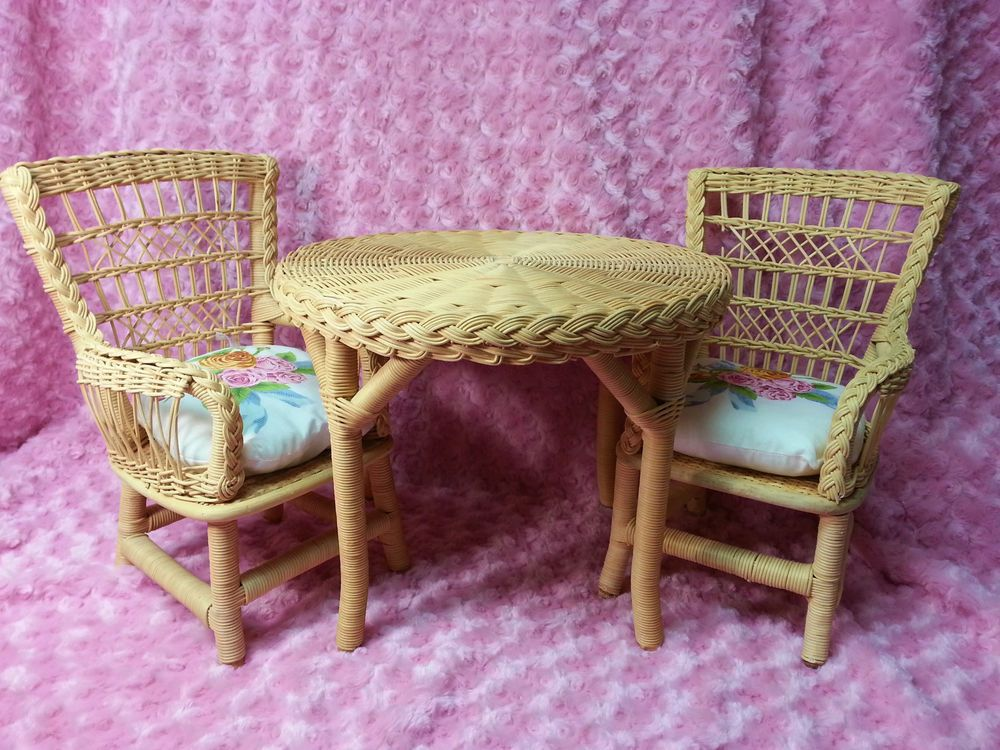 American Girl Wicker Table and Chairs Retired Samantha's Set