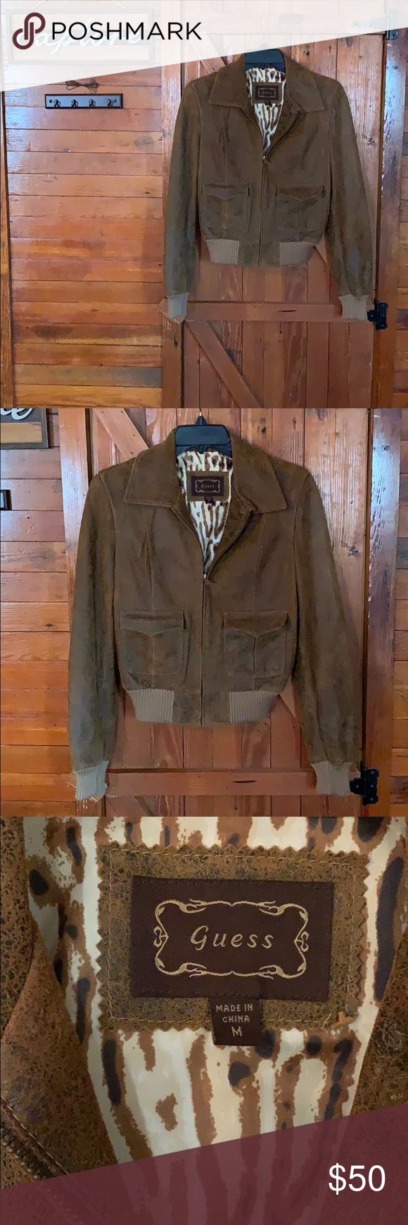 Guess Brown Leather Jacket Woman S Size M Guess Brown Leather Jacket Woman S Size M In Great Condition Jackets Leather Jacket Brown Leather Jacket Jackets [ 1740 x 580 Pixel ]