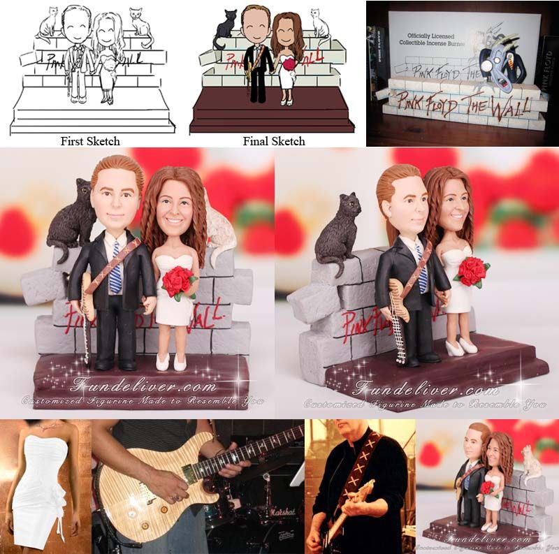 Rocker Wedding Cake Toppers Feature A Rock Star Groom Carrying Strap Guitar With Background Of Band Pink Floyd The Wall