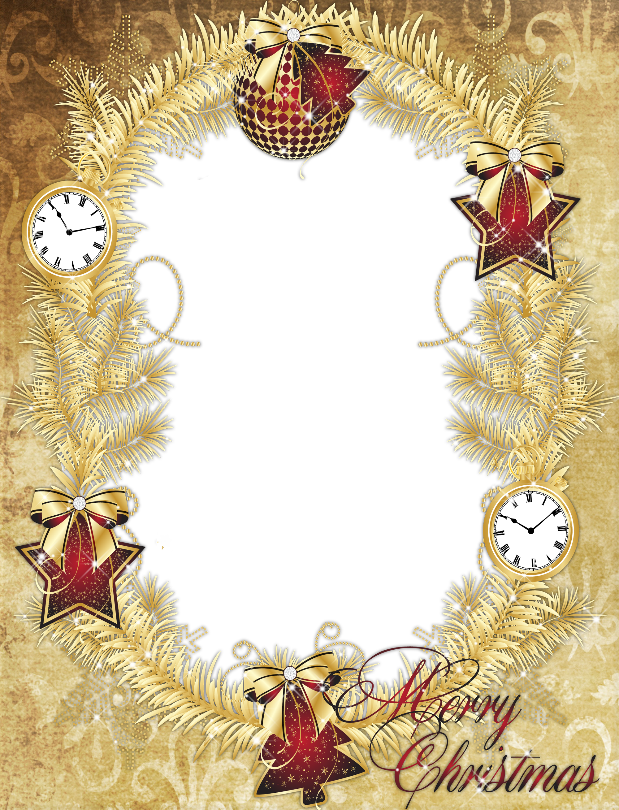Gold PNG Merry Christmas Photo Frame with Stars Merry