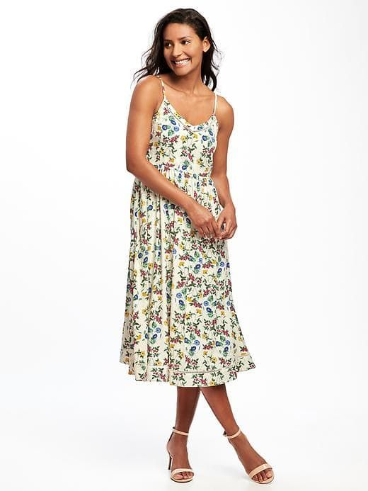 e11a74ce00 Fit and Flare Cami Midi Dress in Floral---Old Navy