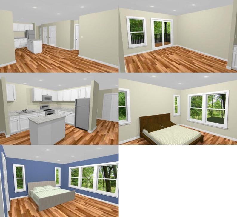 44x48 House 2 Bedroom 2 5 Bath 1 645 sq ft PDF Floor Plan Instant Download Model 1I