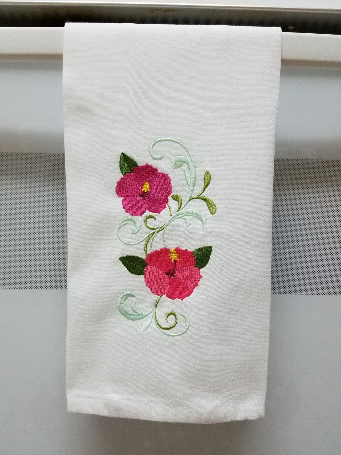 Embroidered hibiscus/Pink hibiscus Embroidered Kitchen/Tea Towel by ...