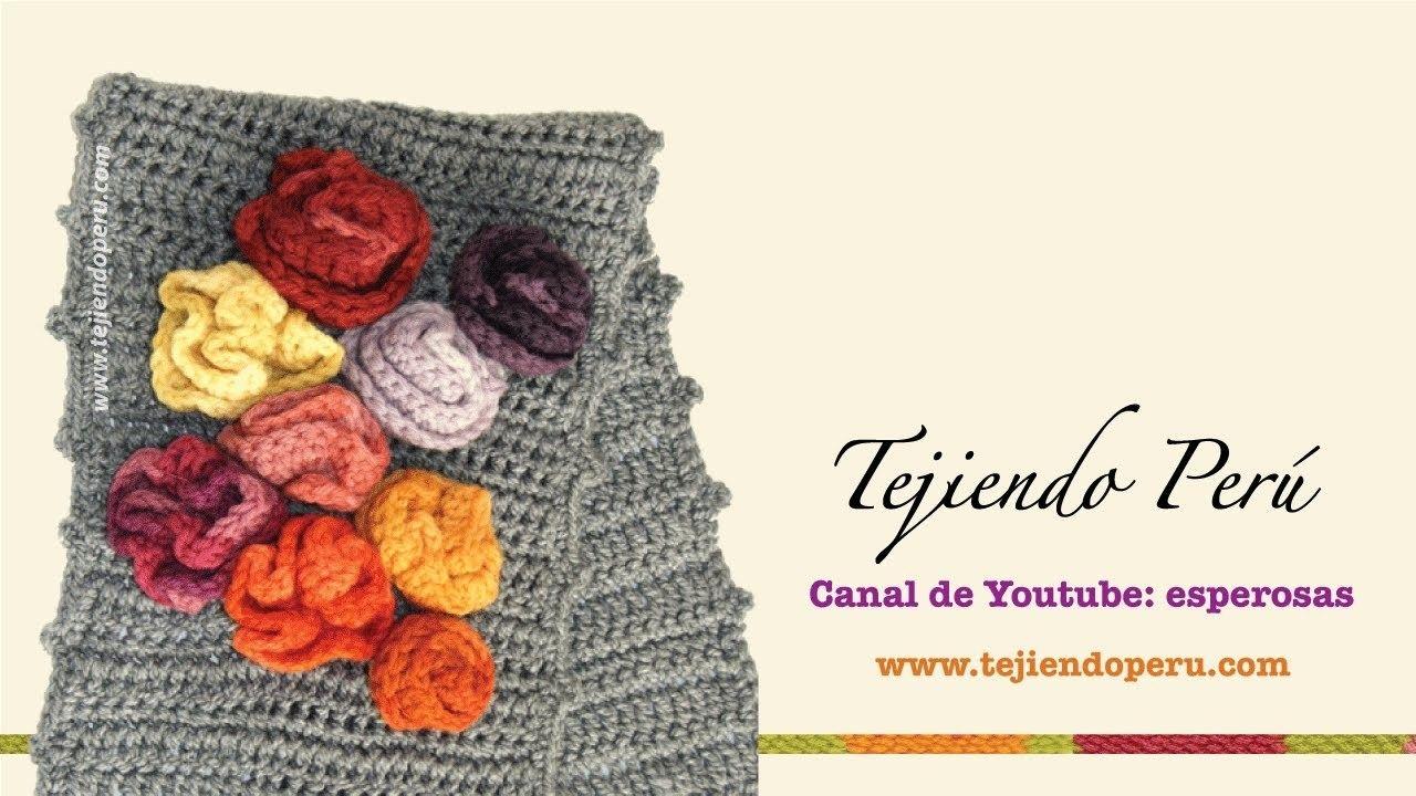 Crochet: bufanda con bobos y flores (parte 2) | Crochet bufanda, Las ...