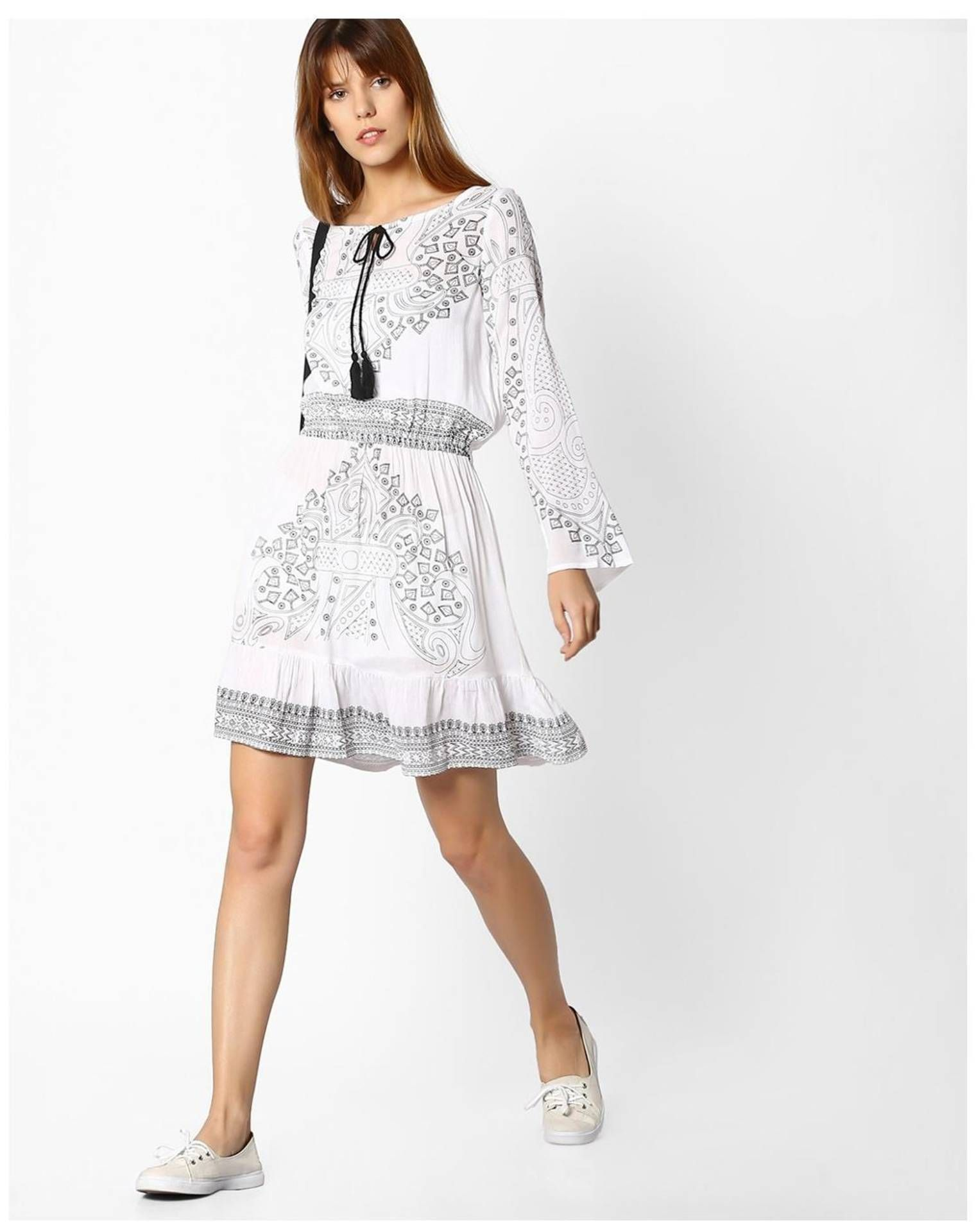fc955099e65 Paytmmall.com - Buy FIG By Reliance Trends White Cotton Dress online at best  prices
