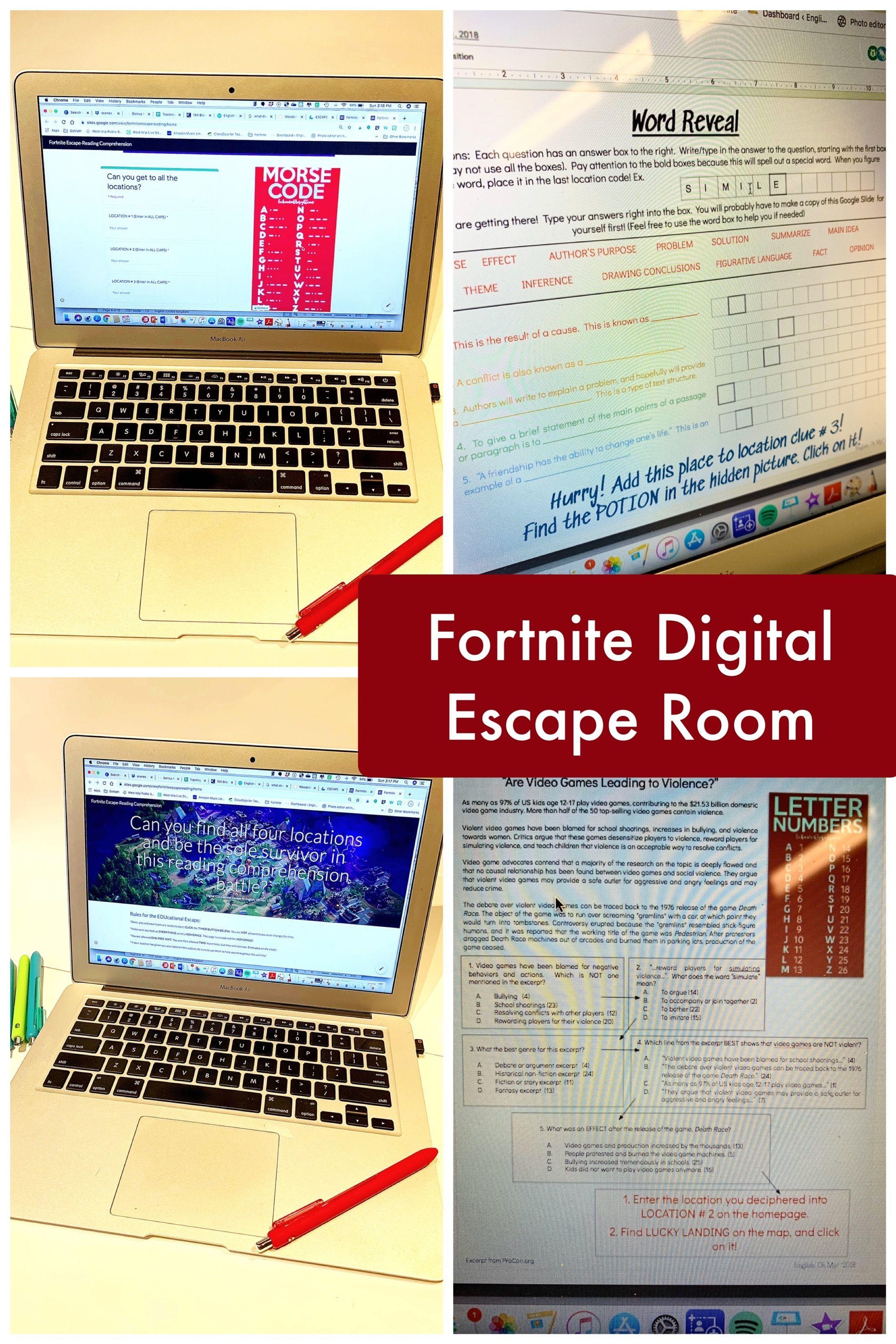 Fortnite Reading Comprehension Digital Escape Room In 2020