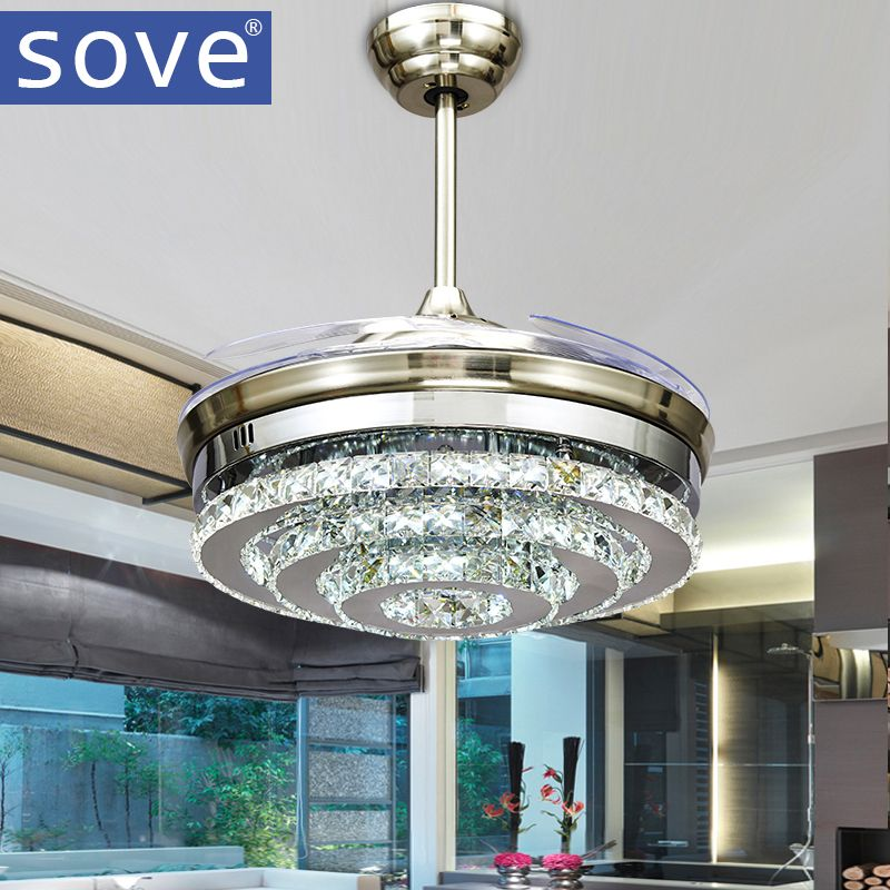 SOVE Modern LED Invisible Crystal Ceiling Fans With Lights Bedroom Folding  Ceiling Light Fan Remote Control