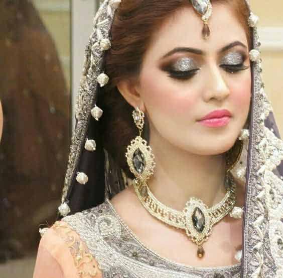 Best Pakistani Engagement Makeup With Grey Dress Color