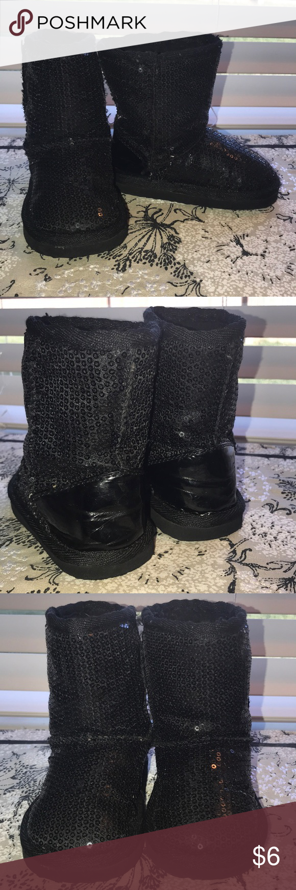 Warm and glittery boots Black sequined boots, warmly lined for those cold or cool days. In very good used condition. Size 6. Smoke free and pet friendly home. Shoes Boots