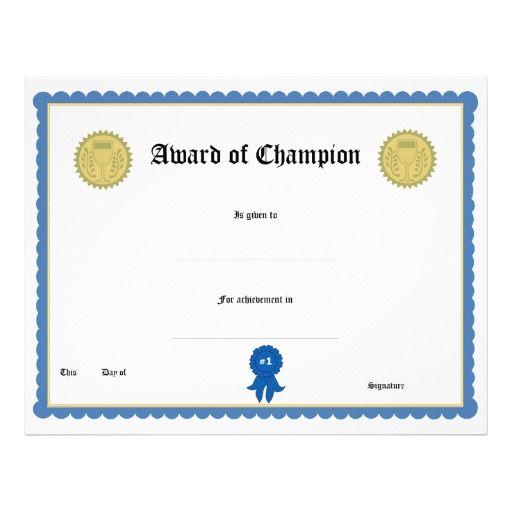 Blank Award Certificate Templates  Blank Award Certificate Form