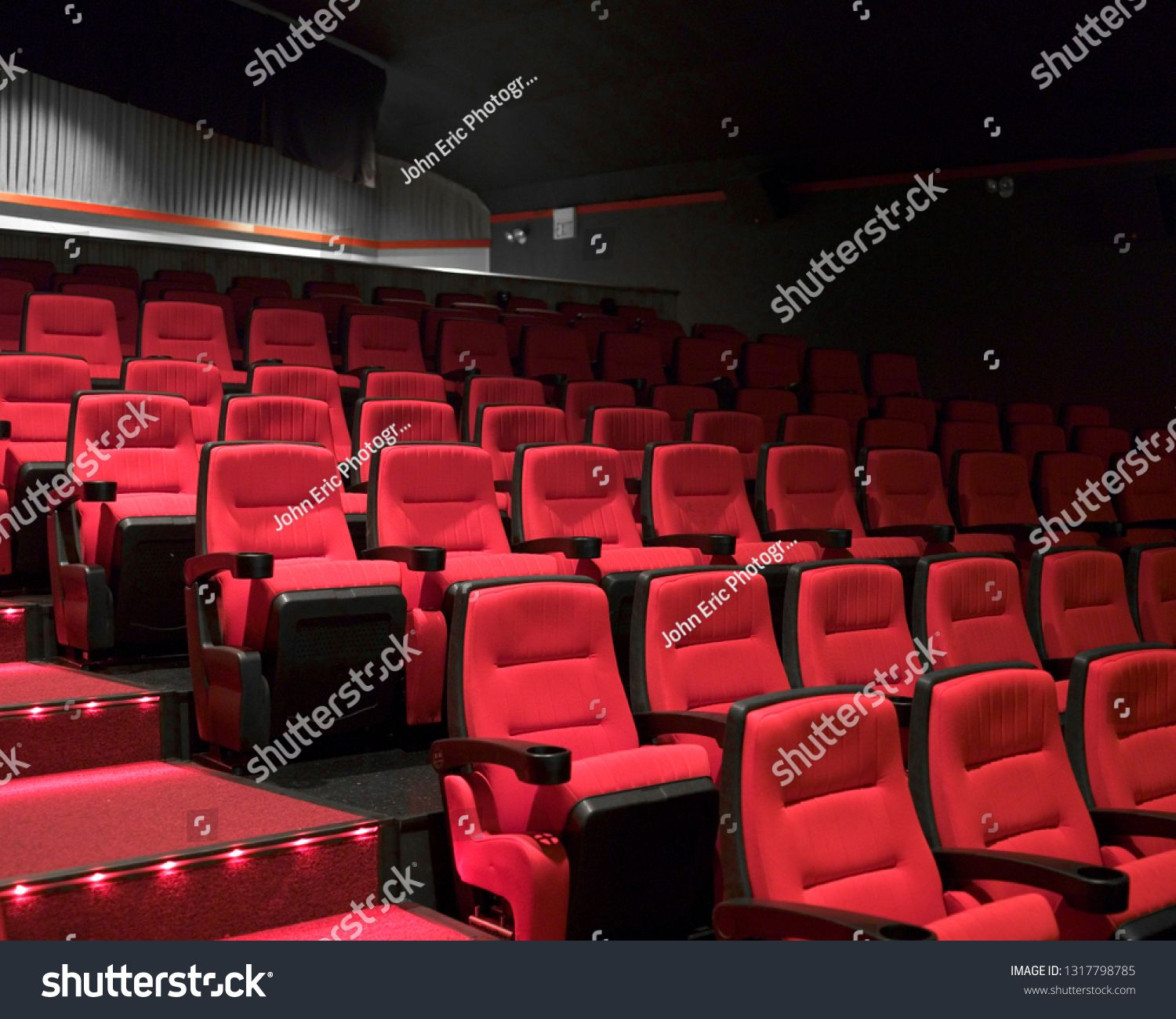 Interior Of Empty Movie Theater With Six Rows Of Clean Red Seats And Grey Walls In Background Sponsored Ad Thea Movie Theater Grey Walls Photos For Sale