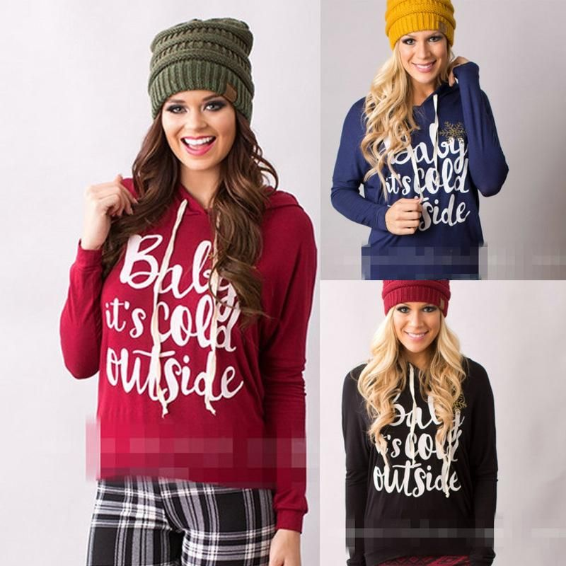 Girls Christmas Fashion Letter prints Full sleeves Hoodies Sweatshirts Woman Casual Pullover Tops 3 color S-XL
