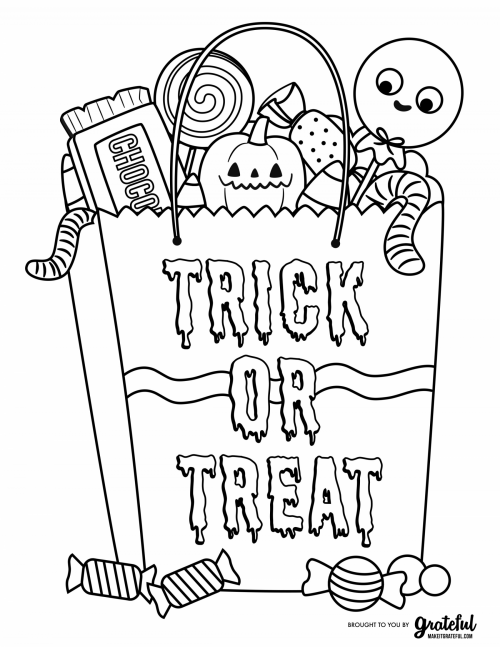 Free Halloween Coloring Pages Candy Bag With Treats Coloring Page Free Halloween Coloring Pages Halloween Coloring Pages Printable Monster Coloring Pages