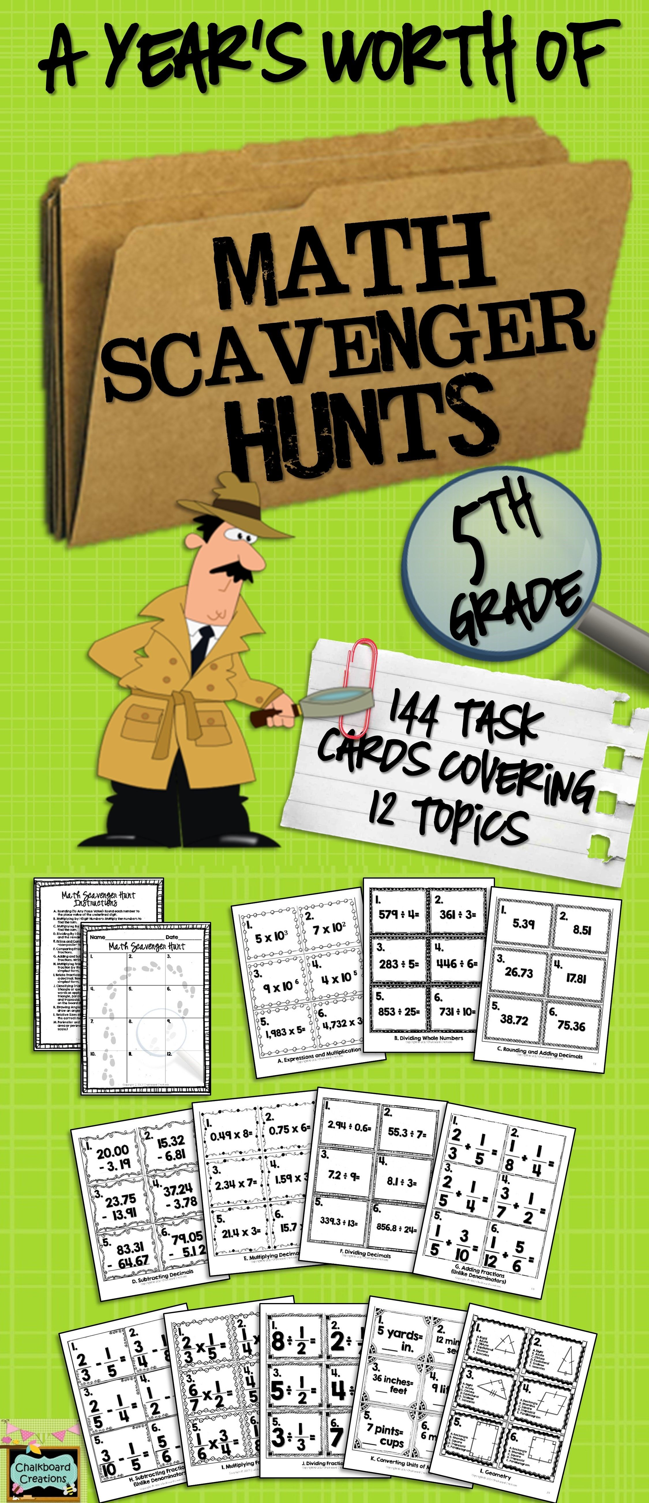 A Year S Worth Of Math Scavenger Hunts Common Core