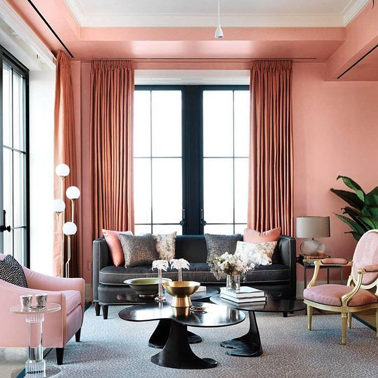 Make The First Step In The Tray Ceiling The Same Color As The Walls Beautiful Homes Colorful Interiors Peach Walls #peach #walls #living #room