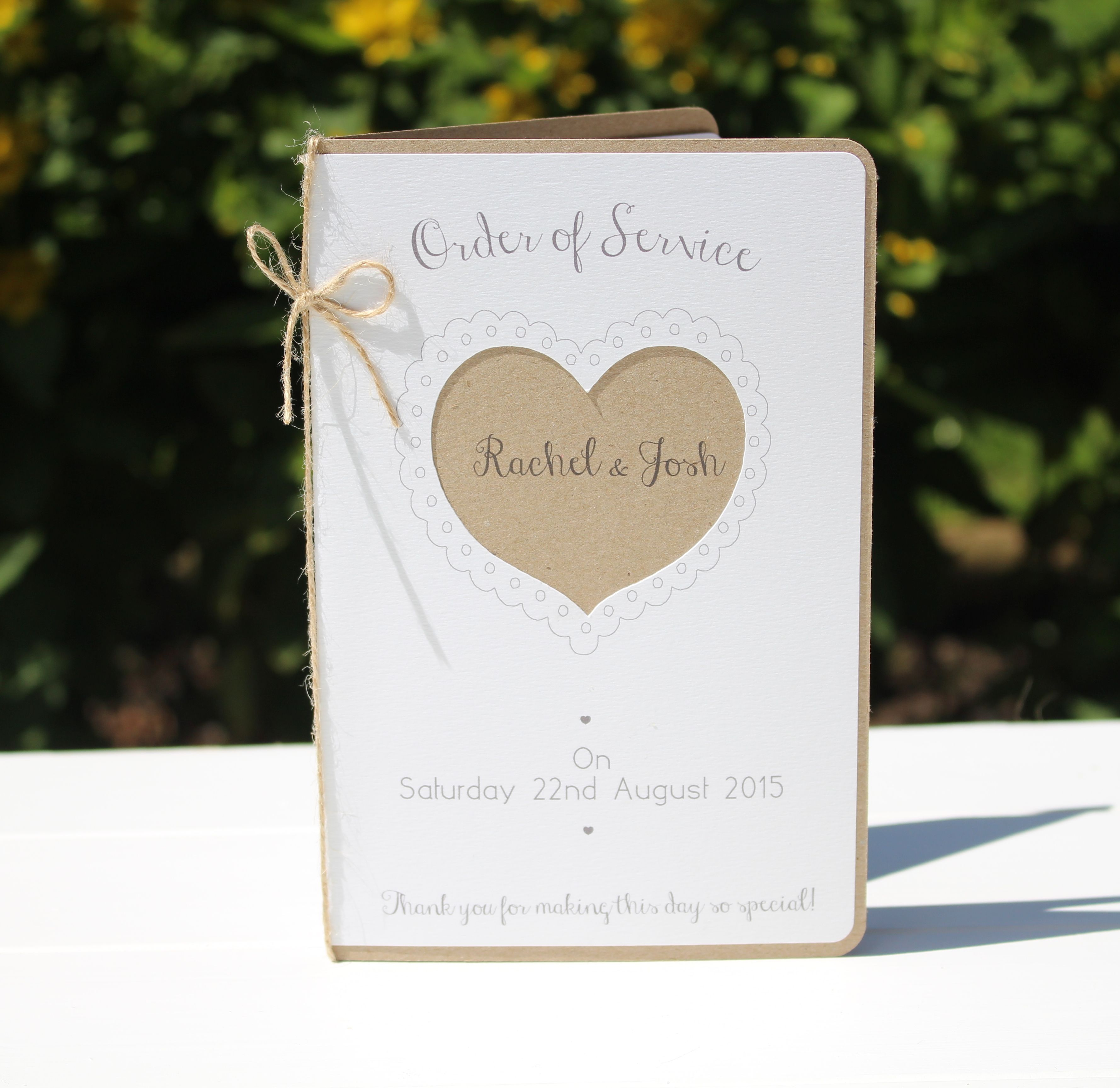 Booklet style Order of Service, printed on recycled eco kraft card ...