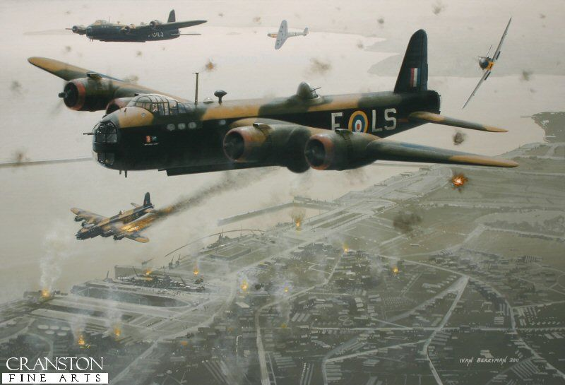 MacRobert's Reply by Ivan Berryman - Short Stirling N6086 MacRobert's Reply of 15 Sqn is shown during the bombing raid on the French Harbour of Brest on 18th December 1941. British bombers had been dispatched to bomb the German battleships Gneisenau and Scharnhorst that were docked there, an action that earned N6086's skipper F/O Peter Boggis a DFC. Stirling W7428 is also shown with her port wing ablaze, one of two Stirlings lost on this operation.
