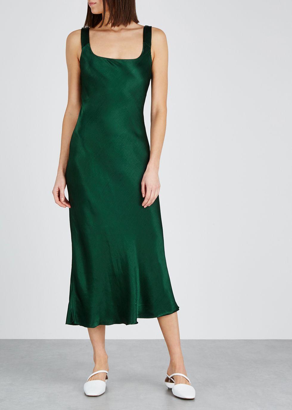 Martini Forest Green Satin Dress Bec Bridge Green Satin Dress Satin Midi Dress Contemporary Outfits [ 1372 x 980 Pixel ]