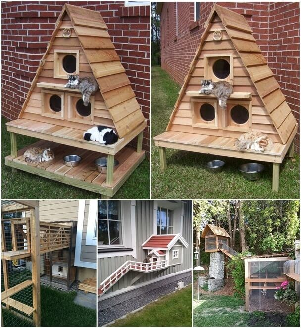 10 Super Cool Cat Houses And Cabins For Your Kitty A Outside Cat House Cardboard Cat House Outdoor Cat House