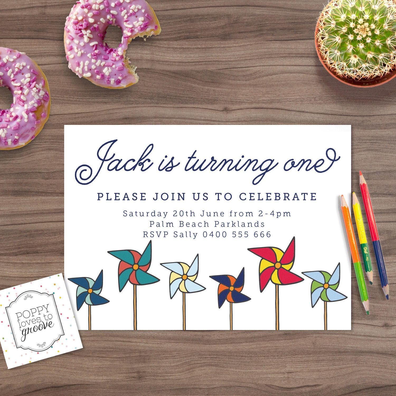 Printable Birthday Invitation, Pinwheel Party Invitation, Custom ...