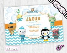 Octonauts Chevron Birthday Invitation ON01I Octonauts birthday