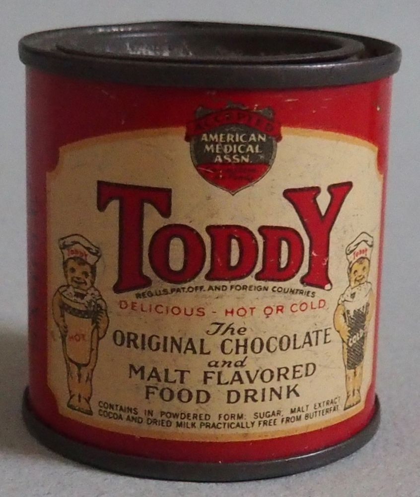 Tiny Early 1900 S Sample Size Toddy Advertising Tin Near