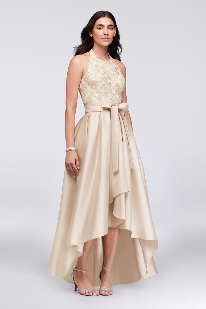 Lace and Mikado Halter Ball Mother of Bride Groom Gown with Sash -  Champagne (Yellow) f73ce568f365