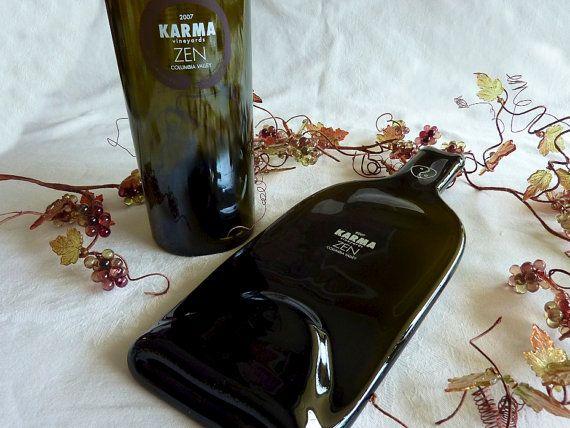 Slumped glass wine bottle cheese plate Zen from by bprdesigns & Slumped glass wine bottle cheese plate Zen from by bprdesigns ...