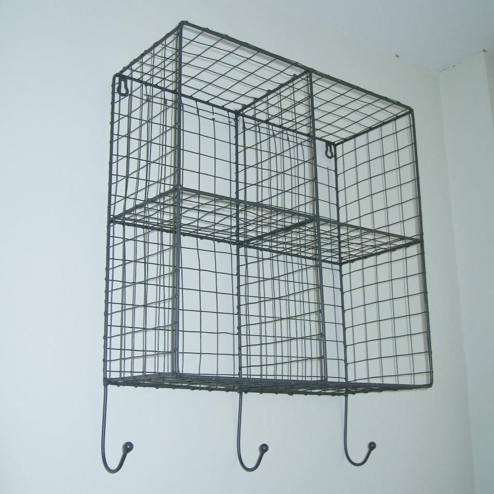 Vintage Industrial Style Metal Wire Storage Shelf Wall Unit Hooks ...