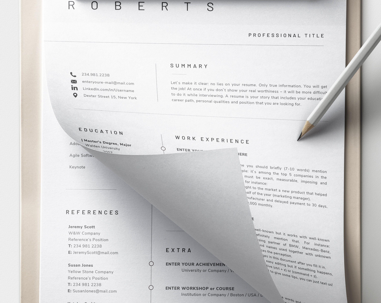 Modern Resume Template CV Template, Cover Letter