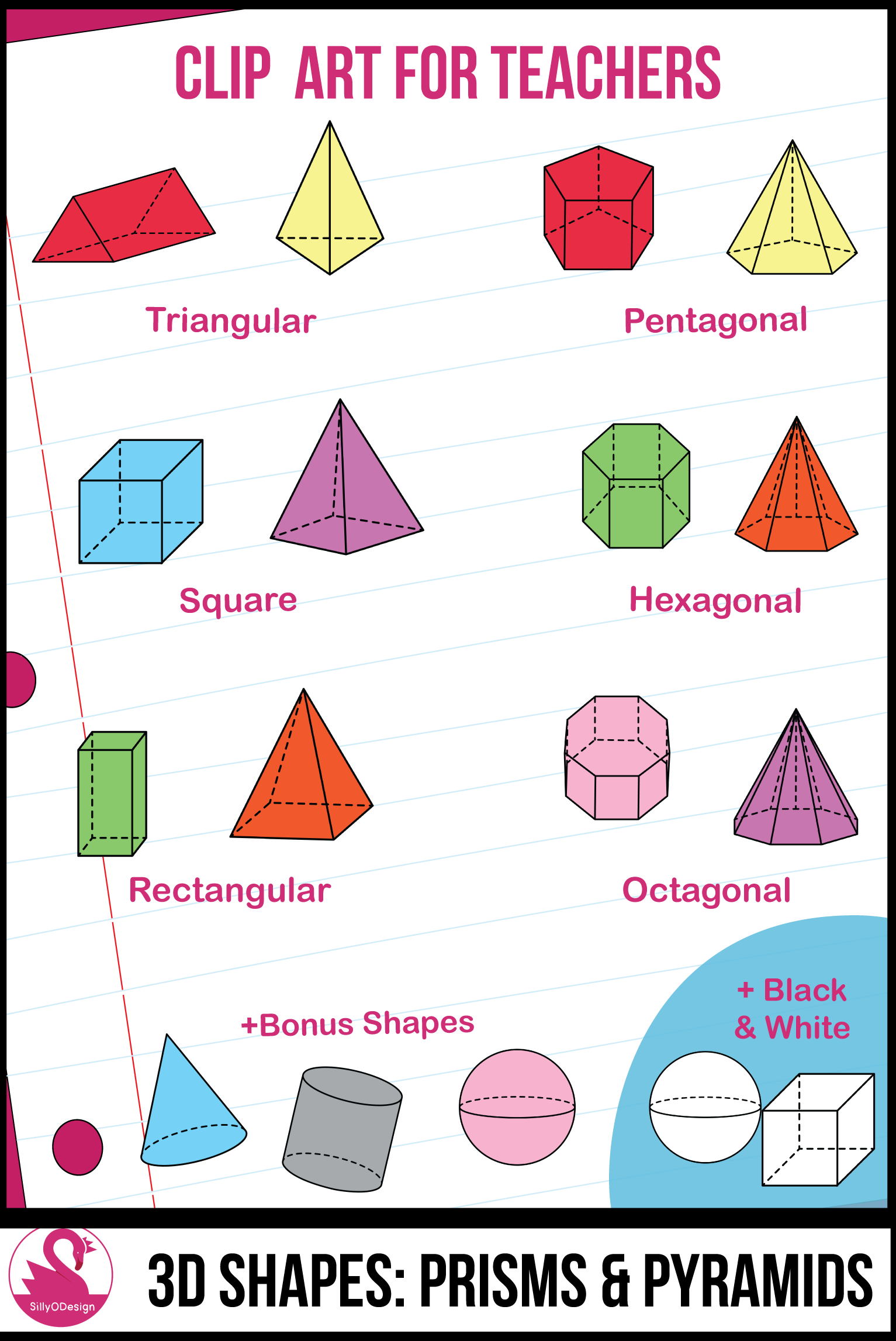 3d shapes clipart: transparent prisms & pyramids, color and black