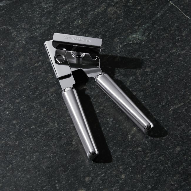 Crate and Barrel Brushed Stainless Steel Can Opener + Reviews   Crate and Barrel
