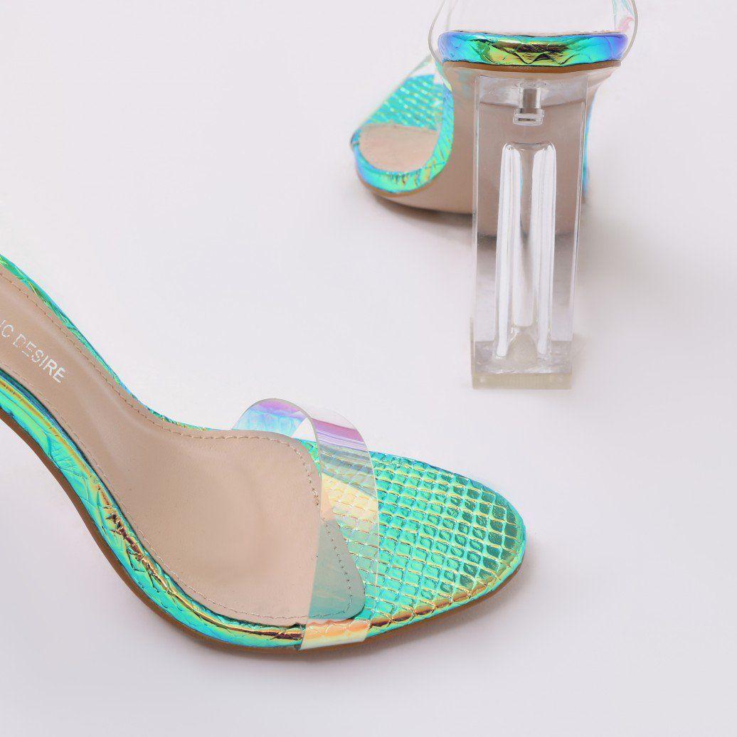 264f7701cf1 Alia Strappy Clear Perspex High Heels in Iridescent   ladies heels ...