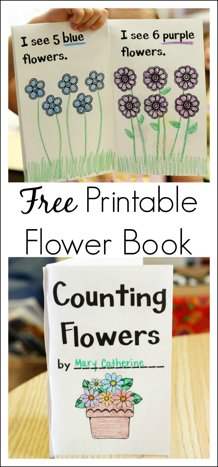 Counting Flowers Book Free Printable For Preschool Fun A Day Spring Preschool Activities Spring Preschool Spring Theme Preschool [ 1496 x 700 Pixel ]