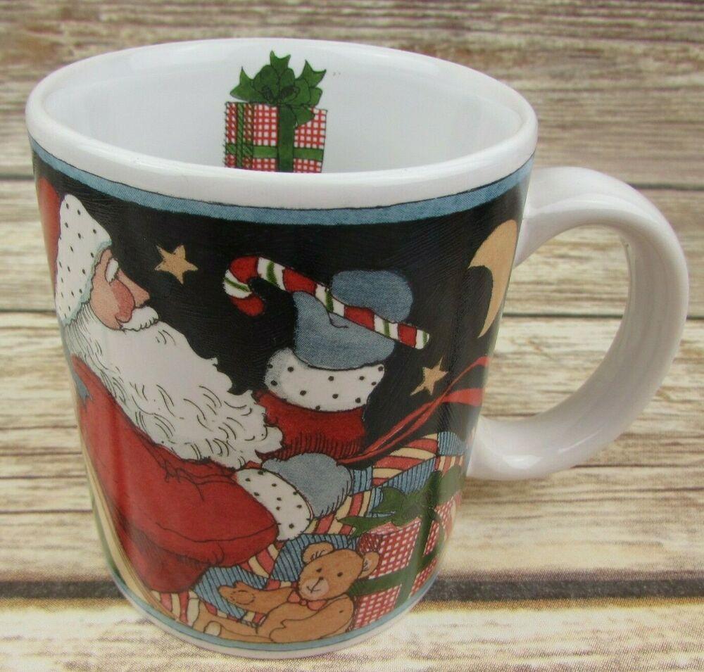Susan Winget Christmas Mug Santa In Sleigh Teddy Bear Presents Flag Coffee Cup Susanwinget In 2020 Christmas Mugs Christmas Figurines Mugs