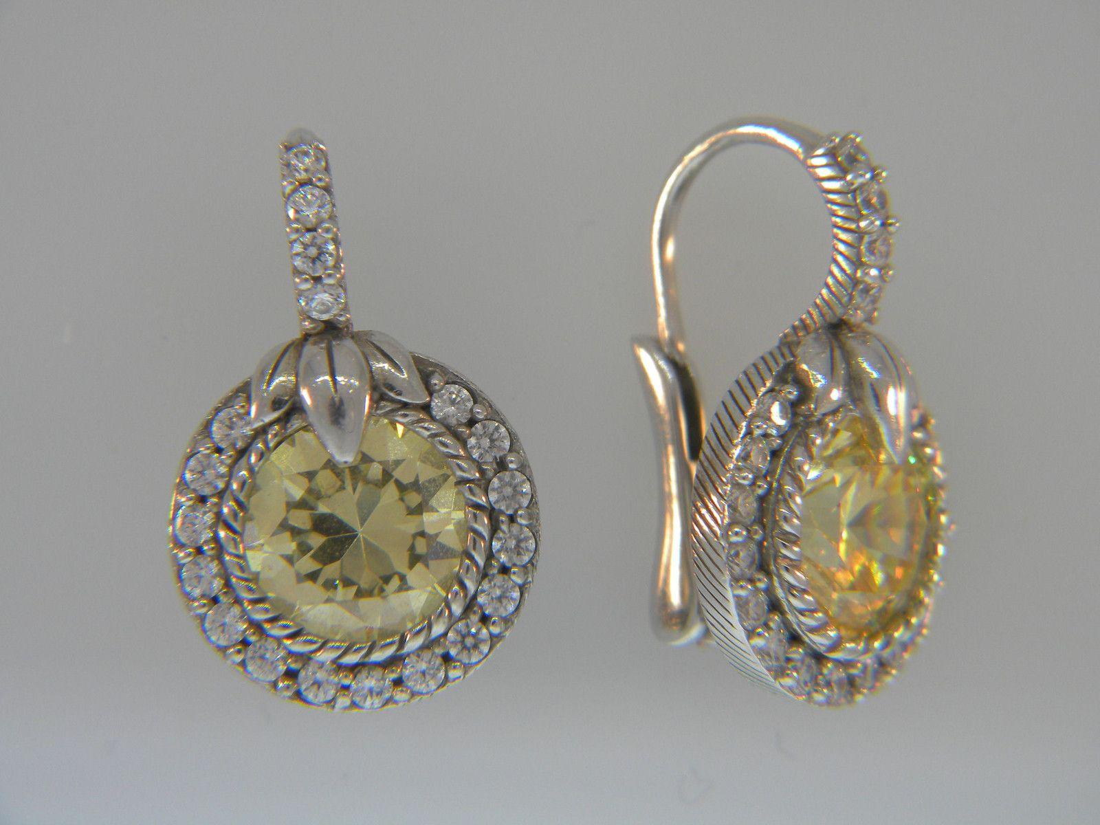 95e20c1e01048 Judith Ripka Yellow CZ Thailand .925 STERLING SILVER Earrings Set ...