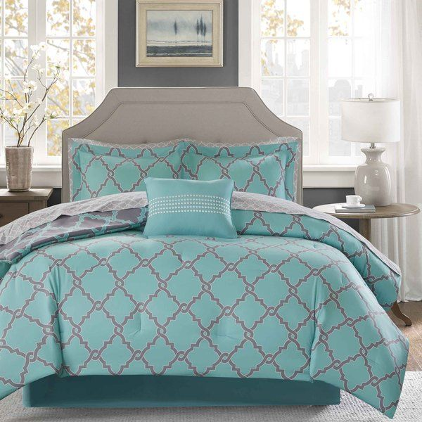 Madison Park Essentials Concord Aqua Grey Reversible Complete