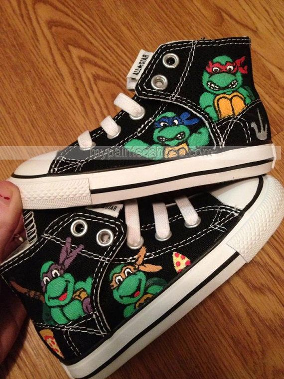 TMNT Hand Painted Custom Shoes TMNT Shoes High-top Painted Canva,High-top Painted Canvas Shoes