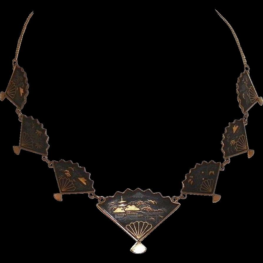 Vintage 1920 S Japanese Damascene Fan Necklace Japanese