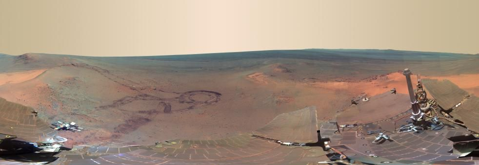 PIA15689: 'Greeley Panorama' from Opportunity's Fifth Martian Winter (False Color)