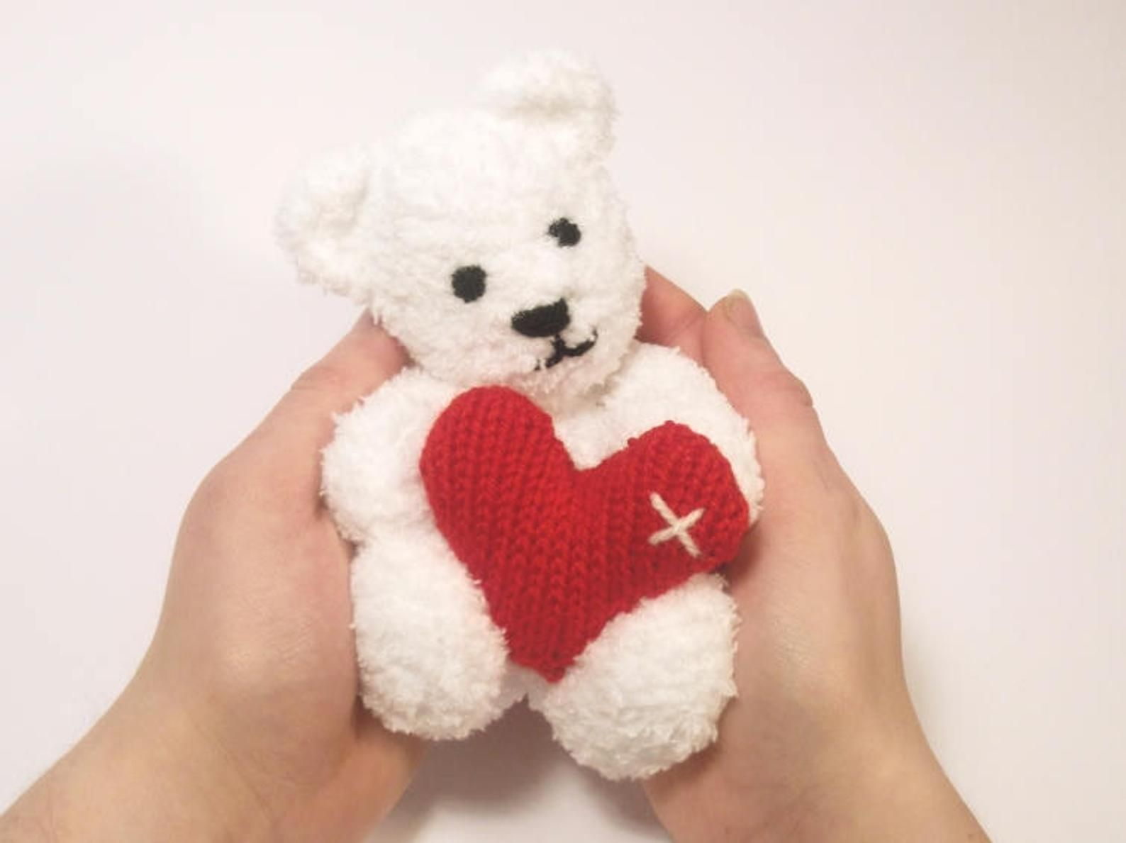 Little Teddy Bear Valentine's Knitting Pattern | Etsy in ...