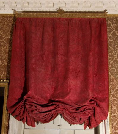 One of five 18th century original red silk damask festoon for 18th century window treatments