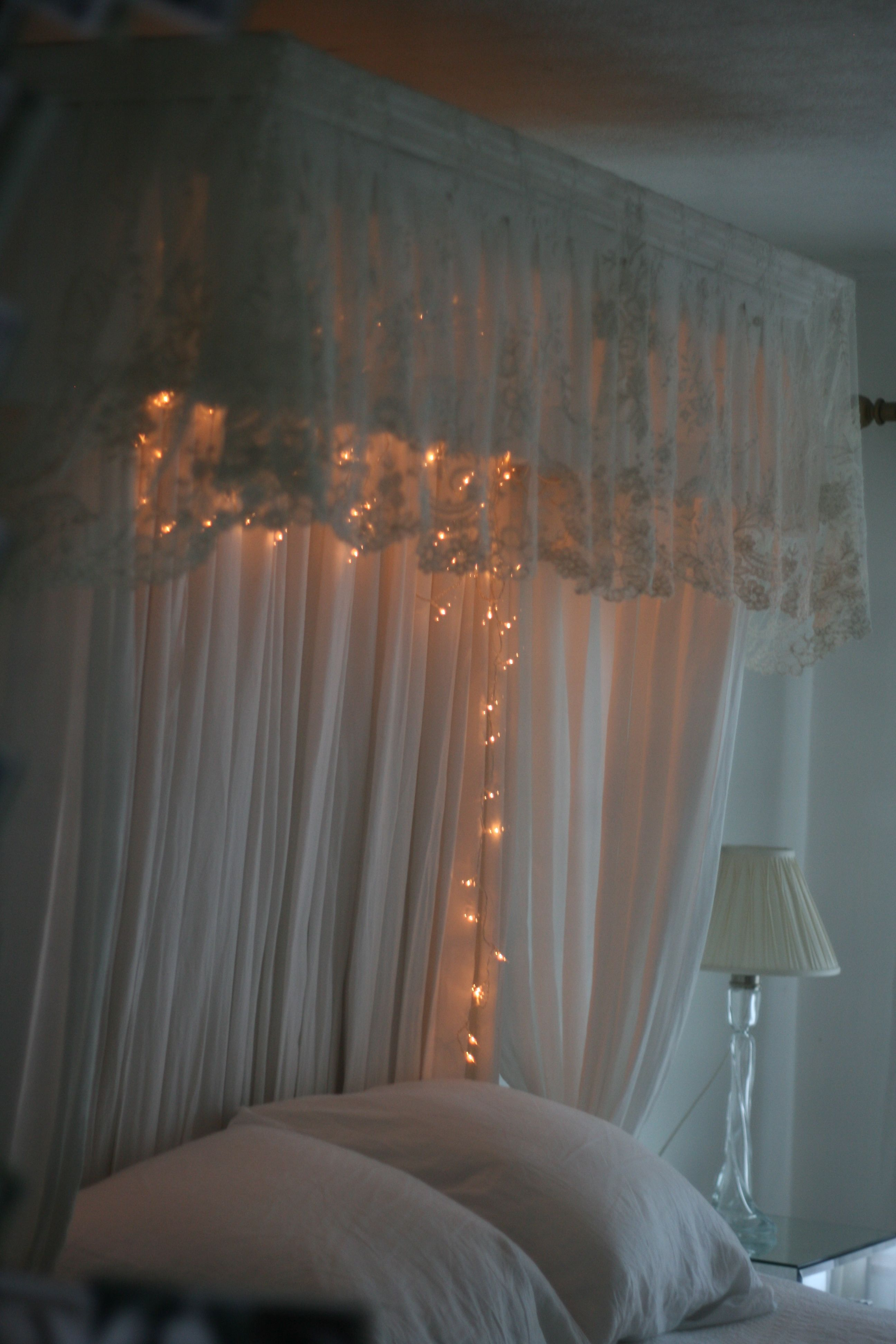 Antique Lace Bed Canopy Cottage Curtains Lace Bedding