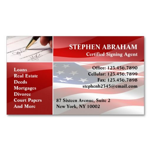 Notary public business card business cards and business notary public american flag pen signature business card its two sided with no additional charge and totally customizable reheart Images